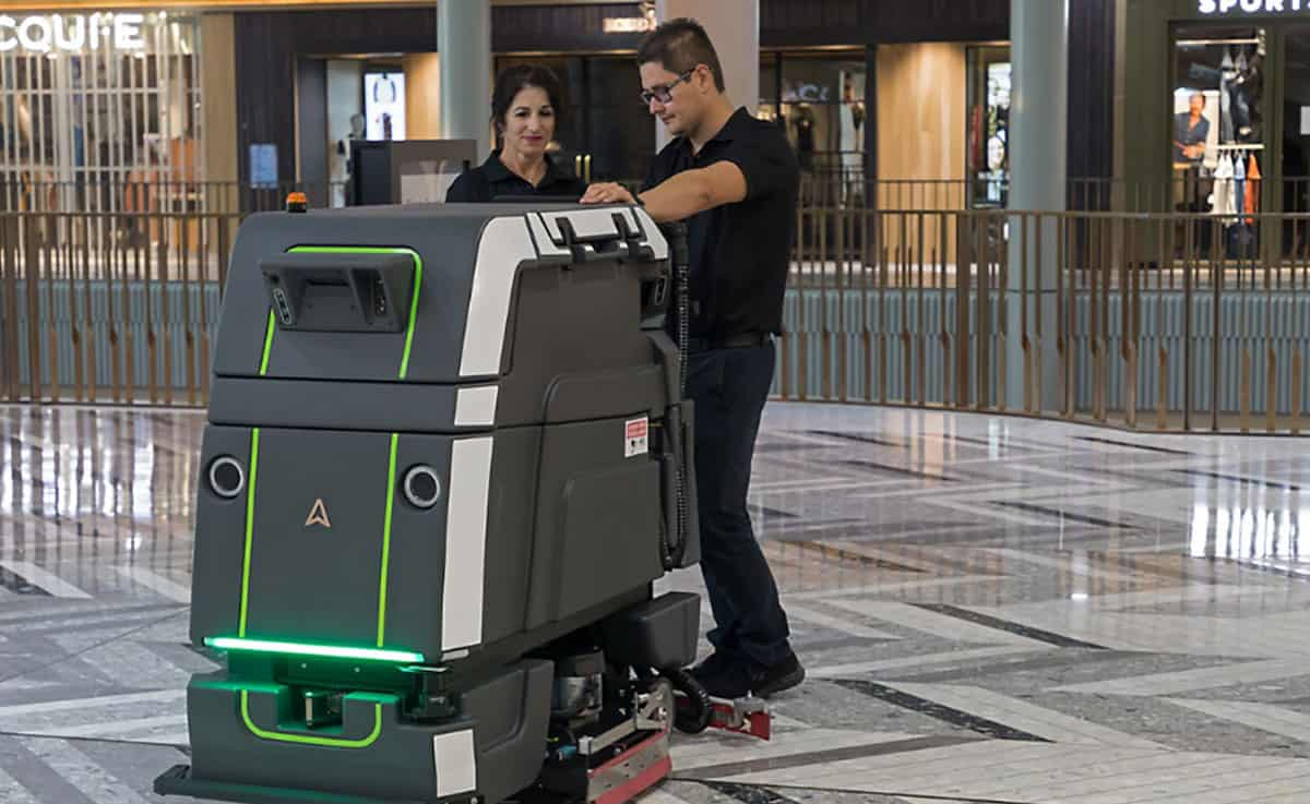robot and 2 people