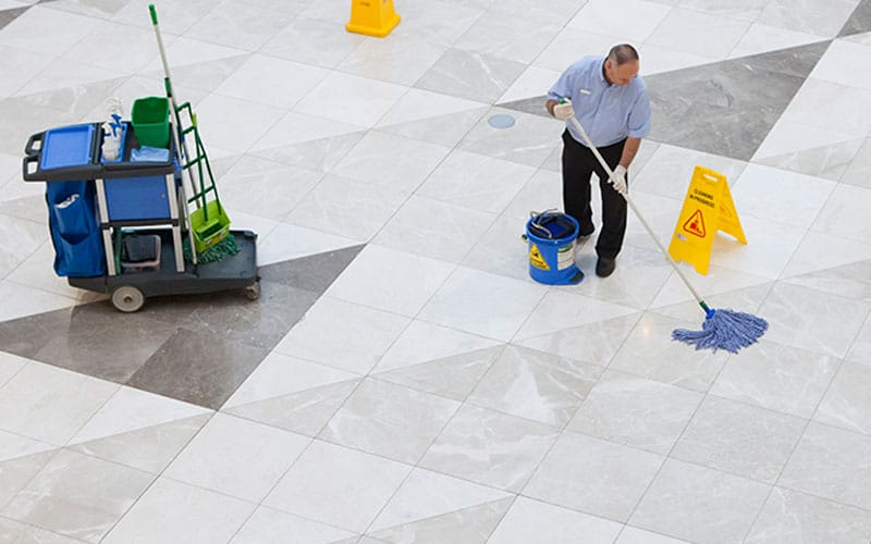 cleaning white floor