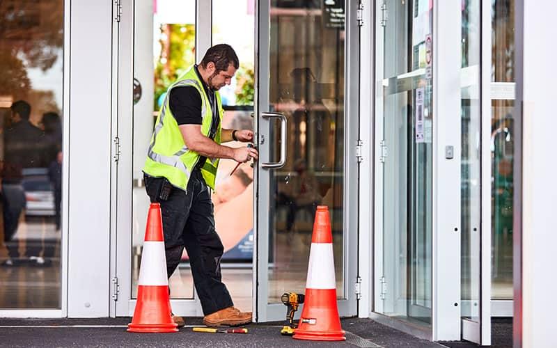 fixing front door of centre